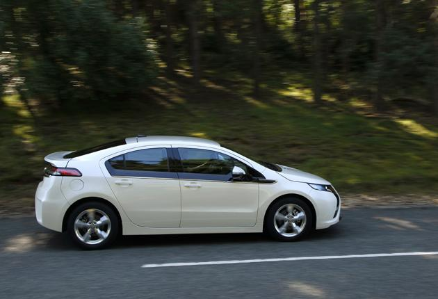 A late prototype of the new Vauxhall Ampera - The new car plugs into the mains and is credited with 175mpg