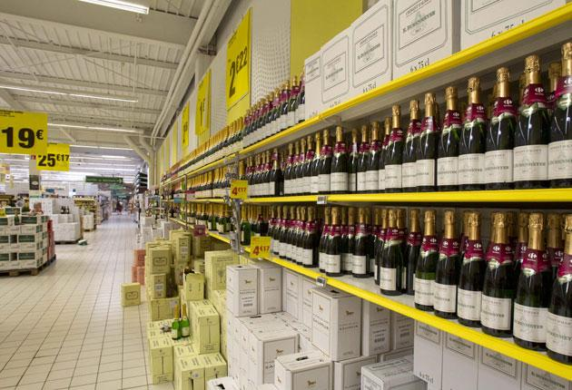 The wine aisle of Carrefour supermarket in Calais