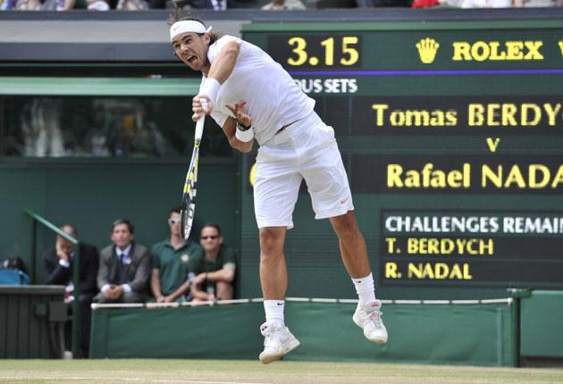Nadal sends down a thundering serve