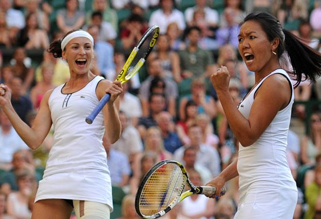 Yaroslava Shvedova and Vania King celebrate en route to doubles victory