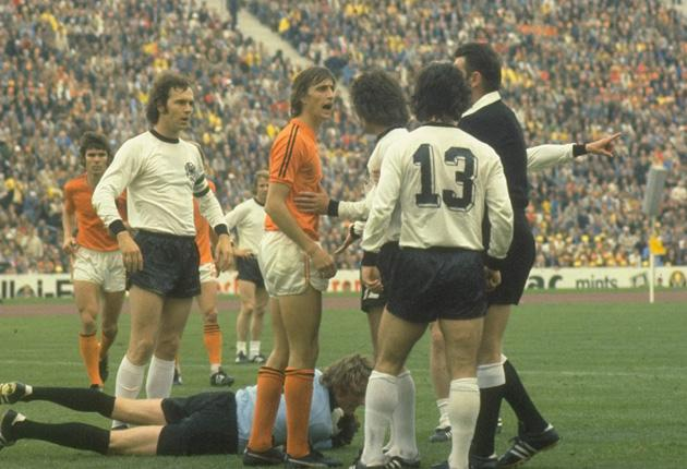 Johan Cruyff argues during the 1974 final when Dutch anger meant they wanted to humiliate their German opponents