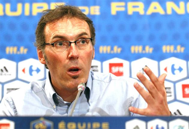 Laurent Blanc addresses a press conference after being unveiled as France manager yesterday
