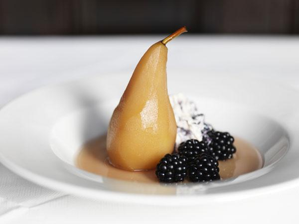 Pears in perry can be served with clotted cream or ice cream, or with blackberries and blackberry rippled cream
