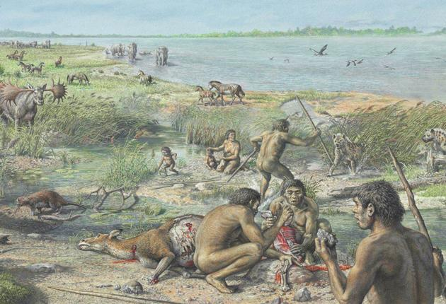 An artist's impression of Norfolk's prehistoric beasts and humans