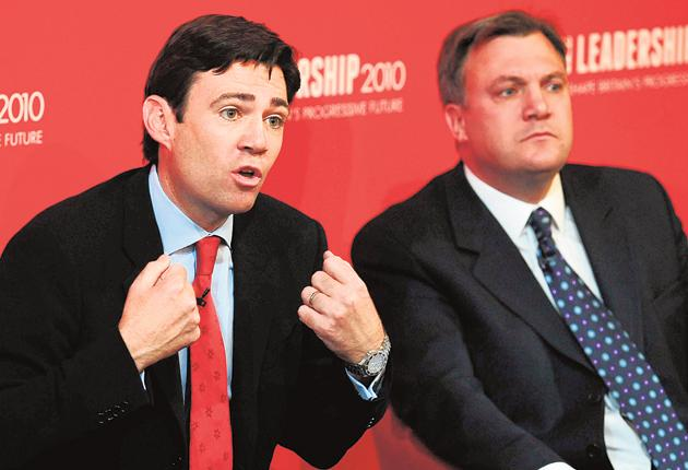 Leadership hopefuls Andy Burnham and Ed Balls; the two are competing for a similar constituency