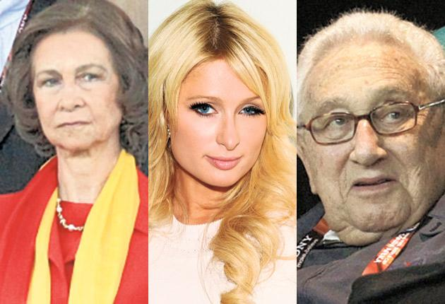 Queen Sofia of Spain, Paris Hilton, Henry Kissinger and others are under suspicion after a stream of private jets meant hundreds of fans were diverted to Johannesburg