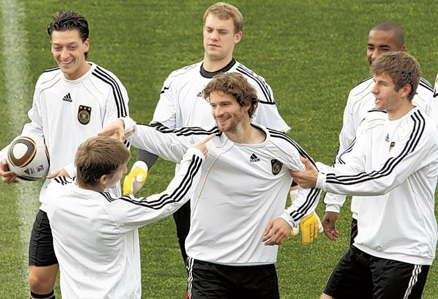 Germany's players attempt to see the funny side during training yesterday