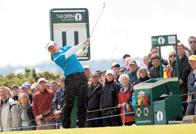 Paul Casey tees off on the 11th during his round of 69 at St Andrews yesterday
