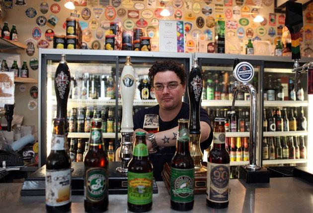 A lot of bottles: Glyn Roberts, manager of The Rake, a bar in London's Borough Market, which stocks many American craft beers, widely said to be 'the most innovative in the world'