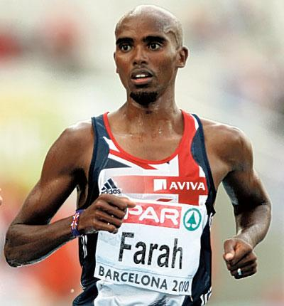 Mo Farah of Great Britain wins his 5,000m heat in Barcelona yesterday