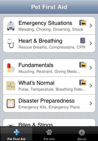 'Pet First Aid' iPhone app