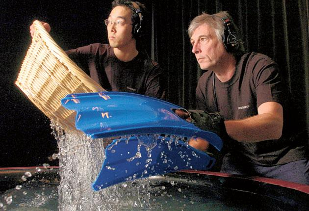 Andy Malcolm, right, and Goro Koyama produce the sound of a swimming sea monster
