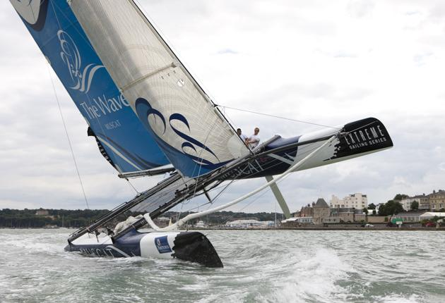 Hey ho and up she rises. The Omani Extreme 40 goes though its paces in Cowes