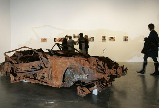 The car was destroyed by a bomb that killed 38 people in a Baghdad market in 2007