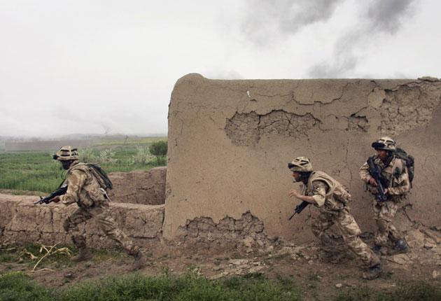 British Marines in action during operations near Kajaki, Helmand province