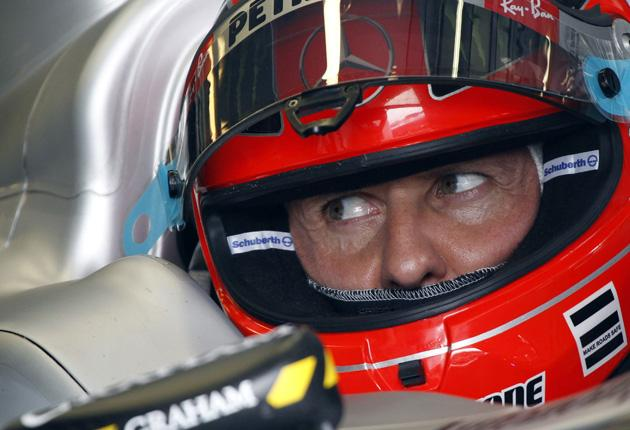 Michael Schumacher received a mere 10-place penalty after nearly running Rubens Barrichello into a wall