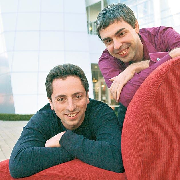 Google's co-founders Sergey Brin, left, and Larry Page, are accused of betraying web users