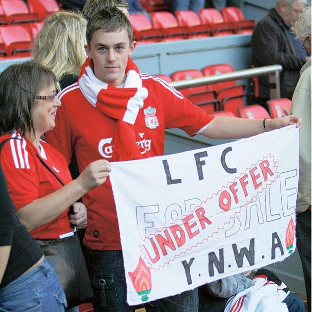 Liverpool supporters back the club's sale during Thursday's game with Rabotnicki at Anfield