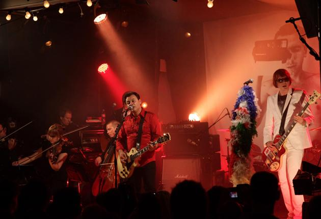 Triumphant comeback: Manic Street Preachers, with James Dean Bradfield (left) and Nicky Wire (right), launching their new album, Postcards from a Young Man