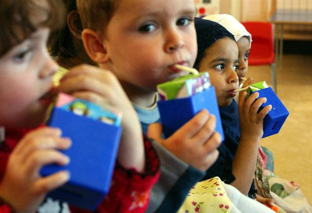 Under-fives in day care receive a third of a pint free daily