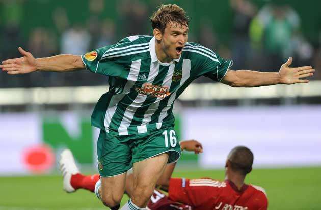 Jelavic celebrates a goal for his current club Rapid Vienna