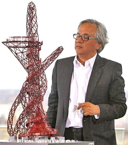 Anish Kapoor unveils a scale model of the 'ArcelorMittal Orbit', designed for the 2012 Olympic Games in London