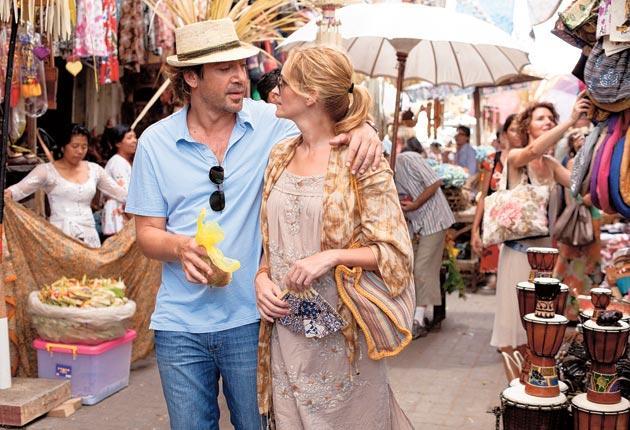 Julia Roberts with Javier Bardem in Eat, Pray, Love.