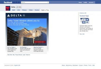 Delta's Facebook app allows booking directly from the site