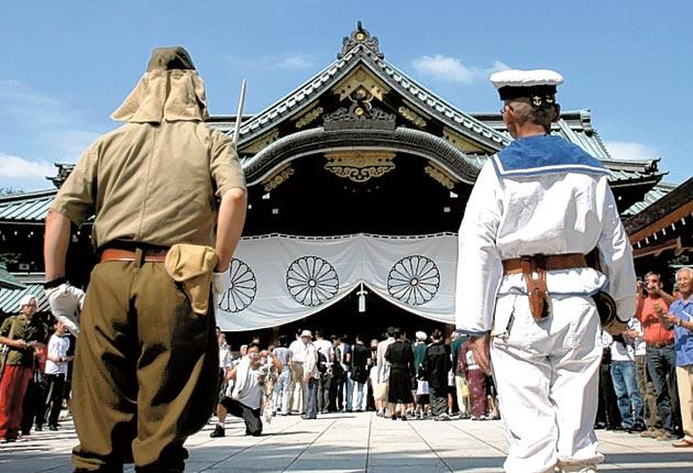 Men in Imperial armed forces uniform at the Yasukuni Shrine