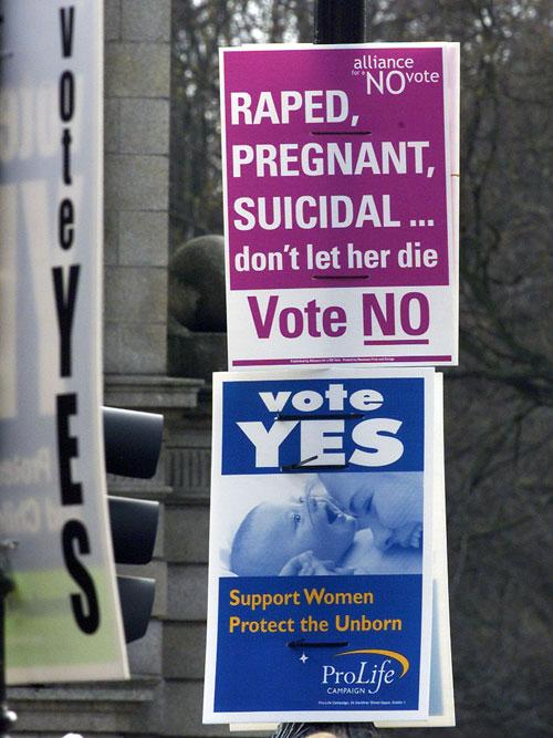 Competing posters in Dublin during a referendum on abortion in 2002