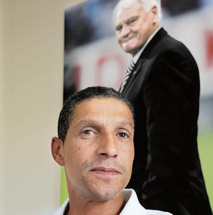 Sir Bobby Robson looks down on the current Newcastle United manager, Chris Hughton, at Darsley Park training ground