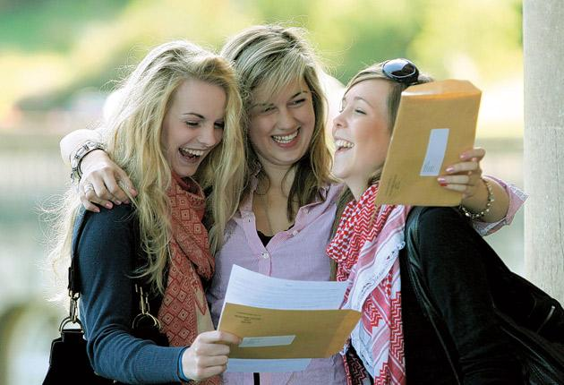 Making the grade: 'Radical' changes could improve the current A-level system. Students celebrate their results, out today