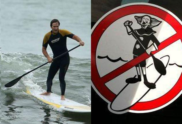 Celebrities have helped to popularise paddleboards in the US, but a backlash has begun with mocking bumper stickers and even banning orders