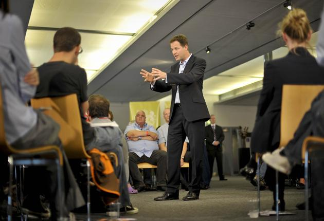 Nick Clegg was forced to defend the coalition in Bristol last week