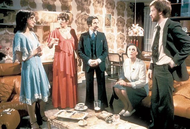 Partly political: Alison Steadman, second left, as the host in the 1977 BBC play 'Abigail's Party'