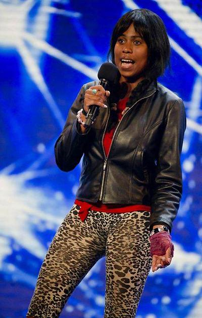 A photograph issued by ITV of Shirlena during filming for The X Factor