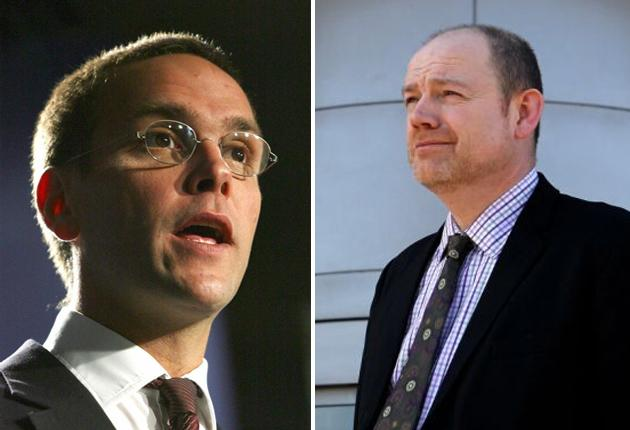 A war of words is ongoing between James Murdoch (left) and BBC chief Mark Thompson
