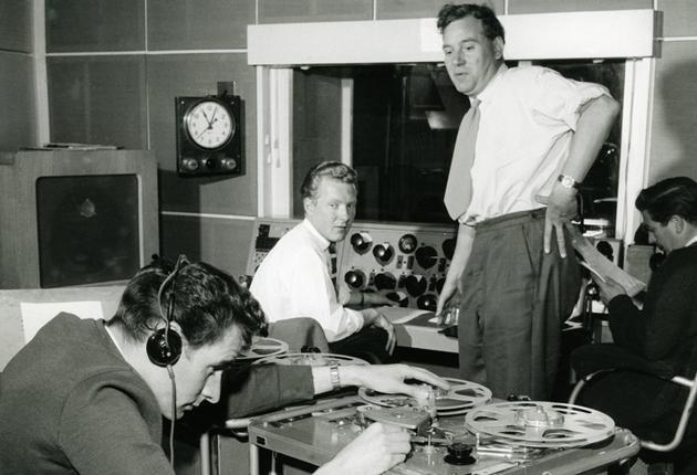 Andrews, left, in his early years at BBC Radio, as a tape operator on the programme 'Saturday Club'