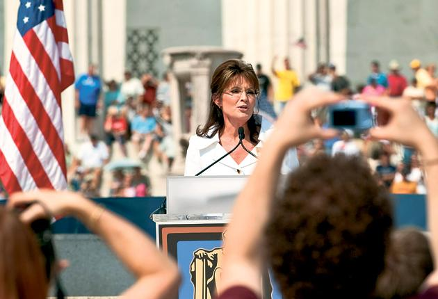Former Alaska governor Sarah Palin told the crowd in Washington's National Mall that 'patriots' must 'never retreat'