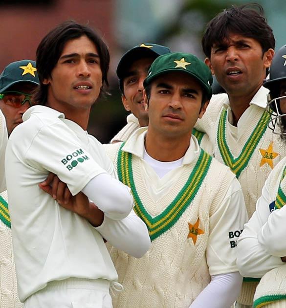 Mohammad Amir, captain Salman Butt and Mohammad Asif of Pakistan
