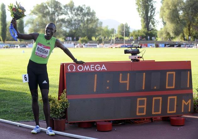Kenya's David Rudisha lowered the 800 metres world record to 1min 41.01se