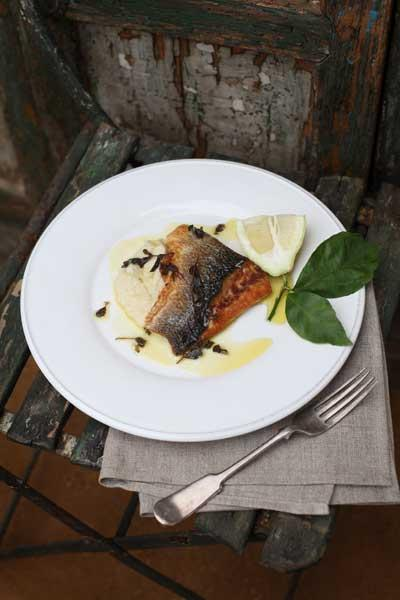 Seabass with cauliflower purée and marjoram butter