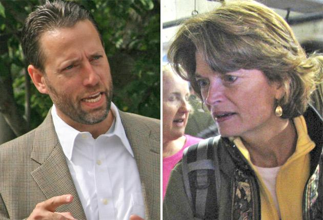 Joe Miller's campaign against Lisa Murkowski, right, was endorsed by Sarah Palin