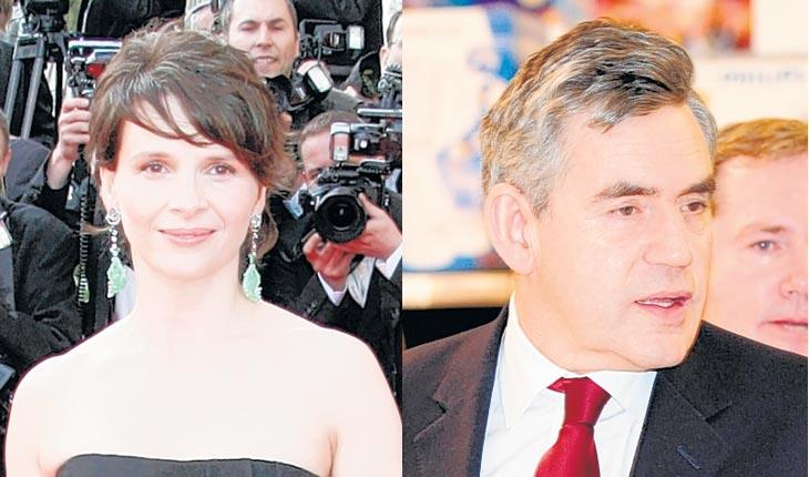 French actress Juliette Binoche and former prime minister Gordon Brown have both been the target of criticism by former colleagues and compatriots this week