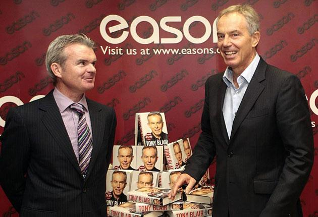 Tony Blair attends a public book signing, with Conor Whelen, Managing Director of Eason book store, in Dublin