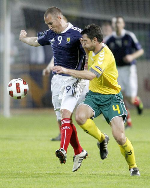Kenny Miller failed to replicate his striking form for Rangers in the goalless European qualifier against Lithuania in Kaunas on Friday night
