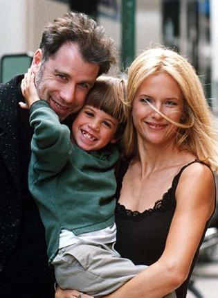 John Travolta, Kelly Preston and Jett pictured together on a film set in 1996