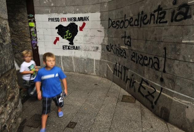 Graffiti showing support of Eta in the Basque town of Hernani, northern Spain