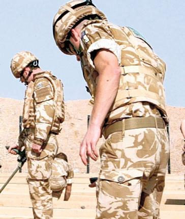 British soldiers on a training exercise for improvised explosive devices