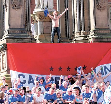Square bashers: Rangers fans meet up in Albert Square, a Fan Zone in 2008